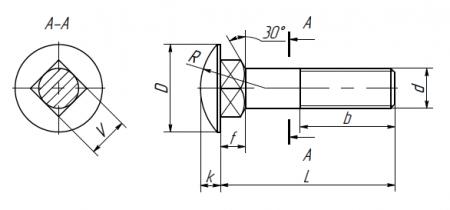 Schraube mit vergrößertem Halbrundkopf und reduziertem Vierkantansatz (BERVEL Werksstandart)
